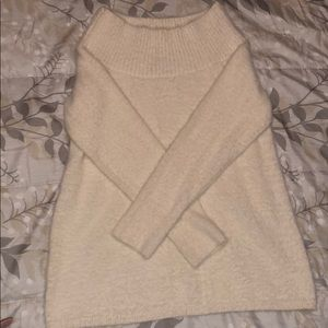 LOFT Off-the-Shoulder Fuzzy Sweater
